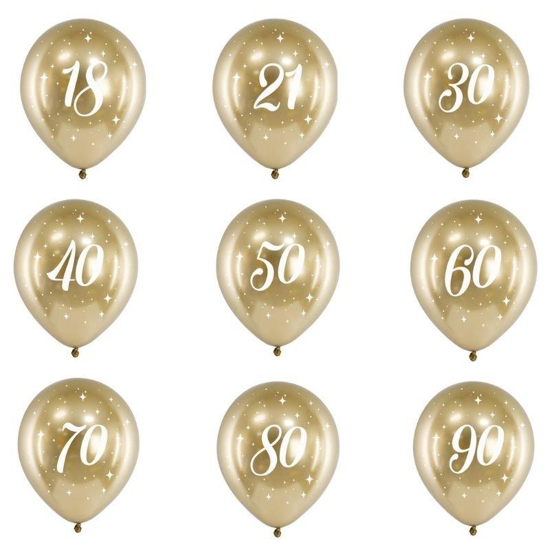 Balony na urodziny w złotym kolorze, posiadają biały nadruk. Idealna dekoracja na okrągłe urodziny.