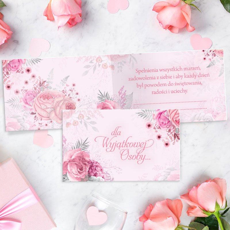 Bilecik prezentowy dla kobiety w różowym kolorze. Idealny upominek dla wyjątkowej osoby.