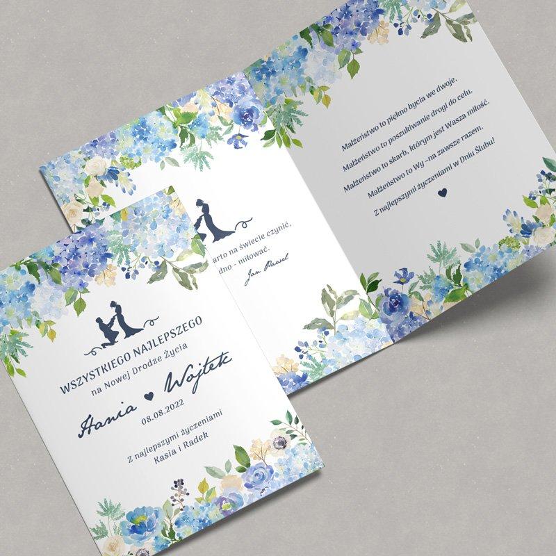 Zdjęcie w galerii - KARTKA ślubna z życzeniami dla Młodej Pary Niebieskie Hortensje