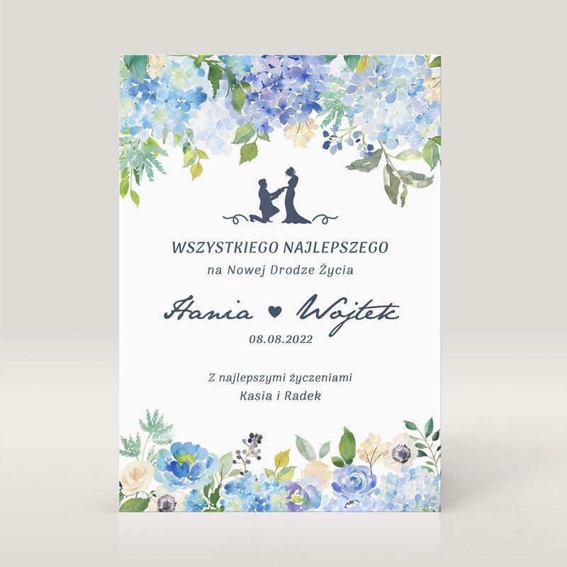 Personalizowana kartka ślubna w niebieskiej kolorystyce. Idealny upominek dla Młodej Pary na ślub, wesele.