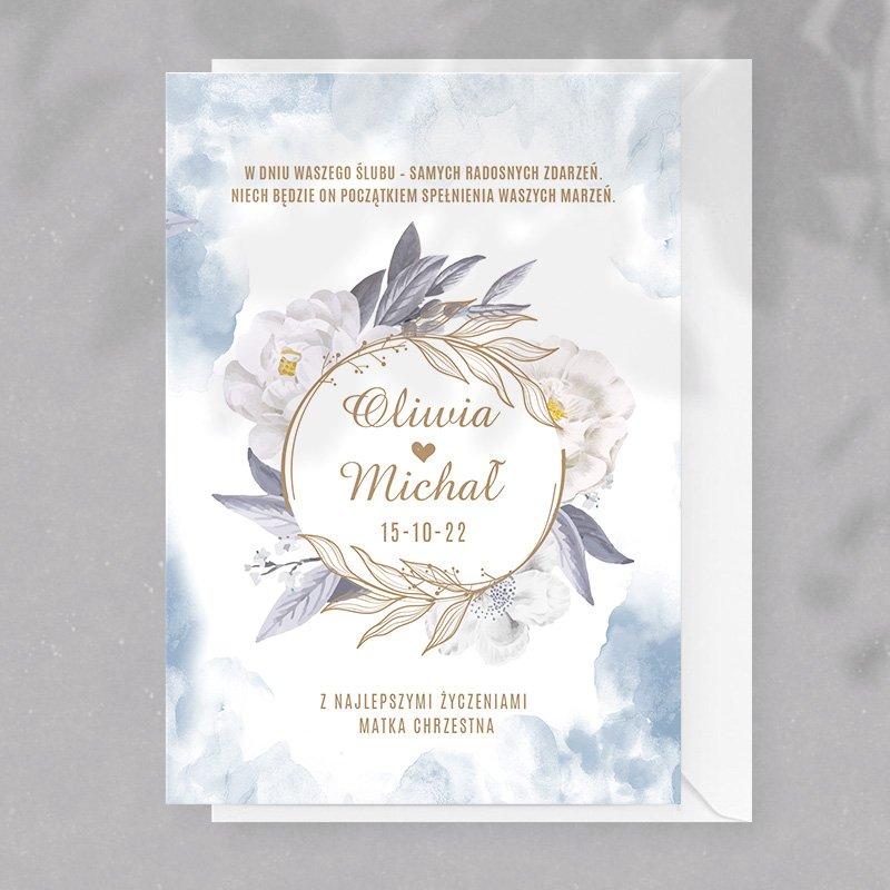 Kartka z okazji ślubu w błękitnej kolorystyce, z personalizacją. Efektowny upominek dla Młodej Pary.