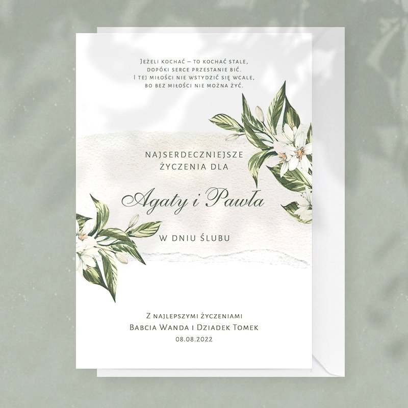 Personalizowana kartka na ślub idealnie sprawdzi się jako prezent dla Pary Młodej.