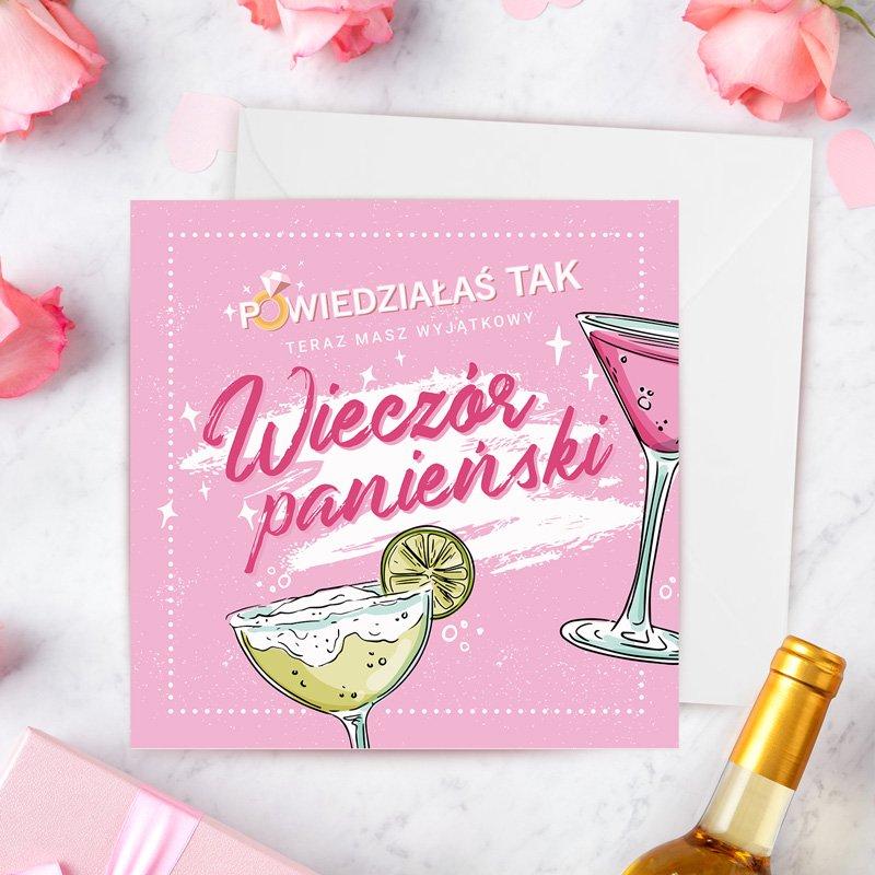 Kartka na wieczór panieński z różową okładką z drinkami. Prezent dla przyszłej panny młodej.