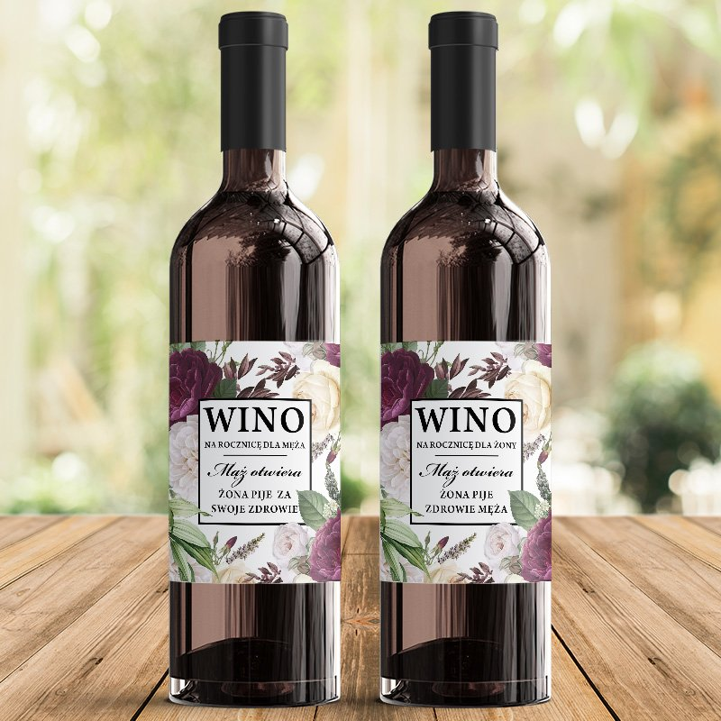 Zdjęcie w galerii - SKRZYNIA na 2 wina prezent na rocznicę ślubu Purple Peony (+2etykiety)