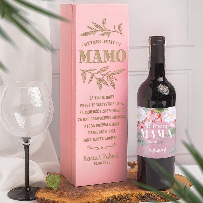 Zdjęcie w galerii - ZESTAW podziękowanie dla najlepszej mamy różowa skrzynia i etykieta