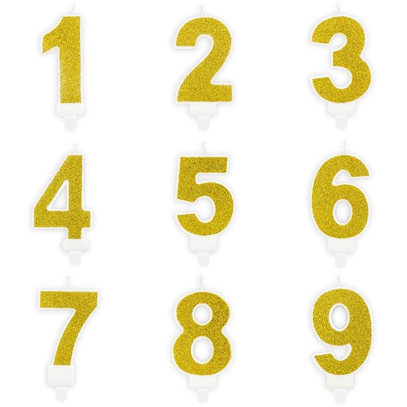 Świeczki na tort złoty brokat od 1 do 9