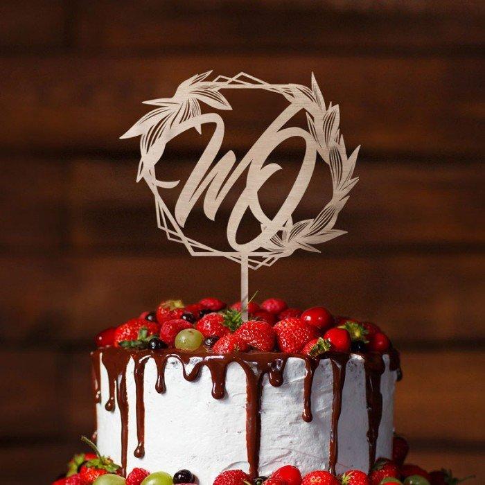 Zdjęcie w galerii - TOPPER dekoracyjny na tort geometryczny wzór Z Inicjałami