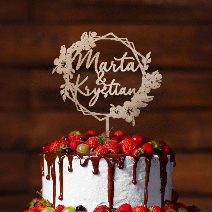 Topper ślubny na tort z pięknym geometrycznym wzorem. Modny dodatek na wesele, ślub.