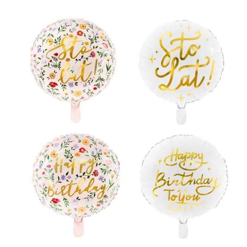 Balon foliowy urodzinowy z napisem sto lat, happy birthday. Jasna kolorystyka, pięknie połyskujący napis w złotym odcieniu.