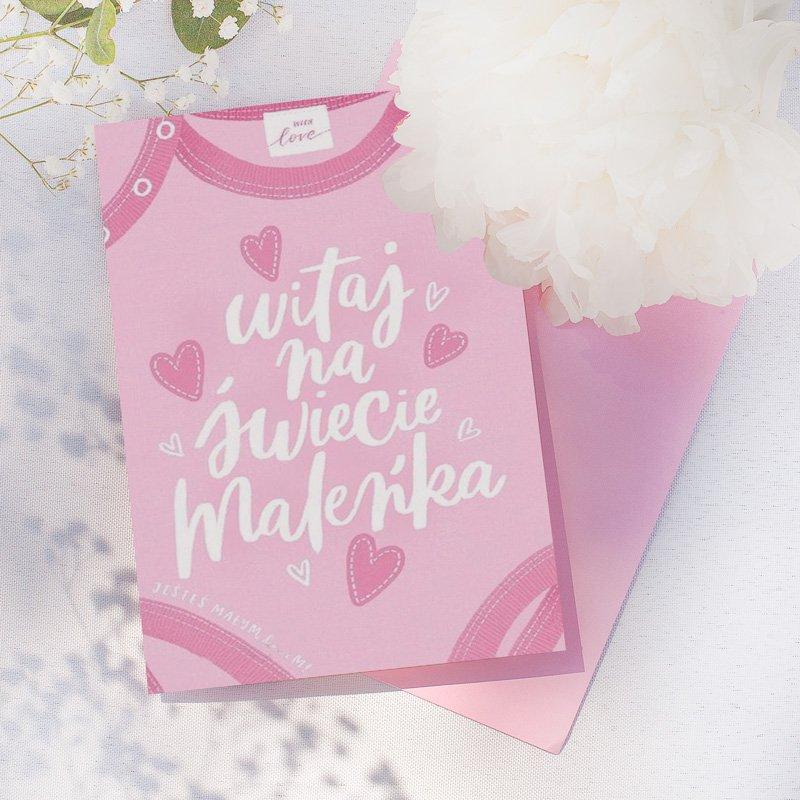 Kartka różowa powitalna z okazji narodzin córeczki.