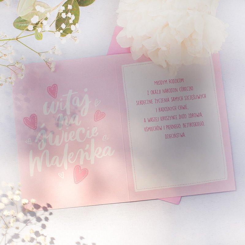 Zdjęcie w galerii - KARTKA z życzeniami Powitanie na Świecie Dziewczynki Różowa