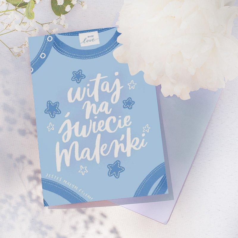 Kartka okolicznościowa na narodziny w błękitnym odcieniu. Prezent dla chłopca i świeżo upieczonych rodziców.