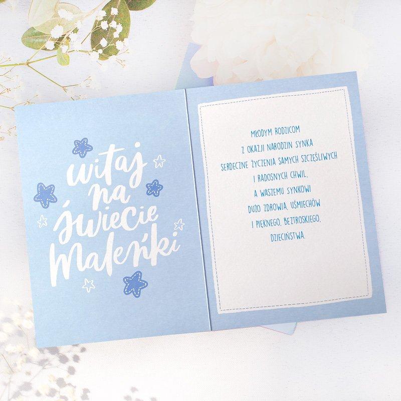Zdjęcie w galerii - KARTKA Z Życzeniami Na Narodziny Chłopca Błękitna