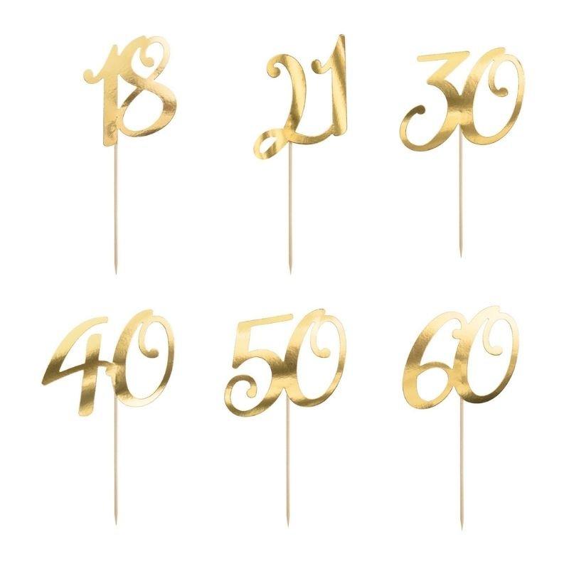Topper z liczbą na tort w złotym kolorze. Dekoracja na okrągłe urodziny mężczyzny i kobiety.