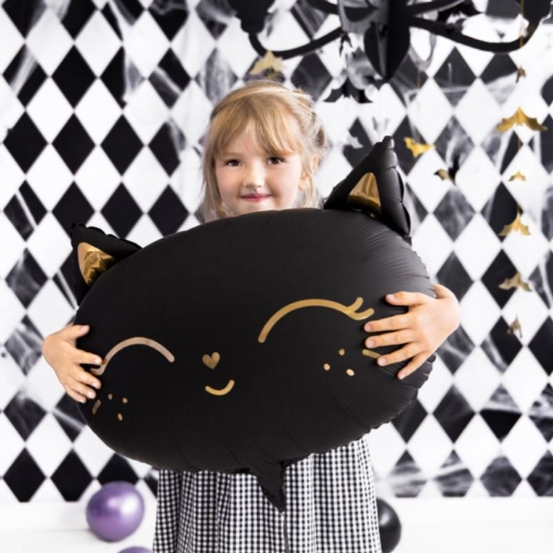 Balon w kształcie kotka w czarnym kolorze. Idealnie sprawdzi się jako dekoracja wnętrza.