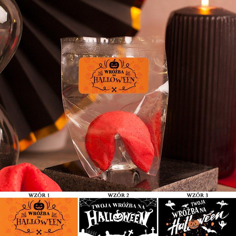 Ciasteczko z wróżbą czerwone i z etykietą tematyczną na imprezę Halloween