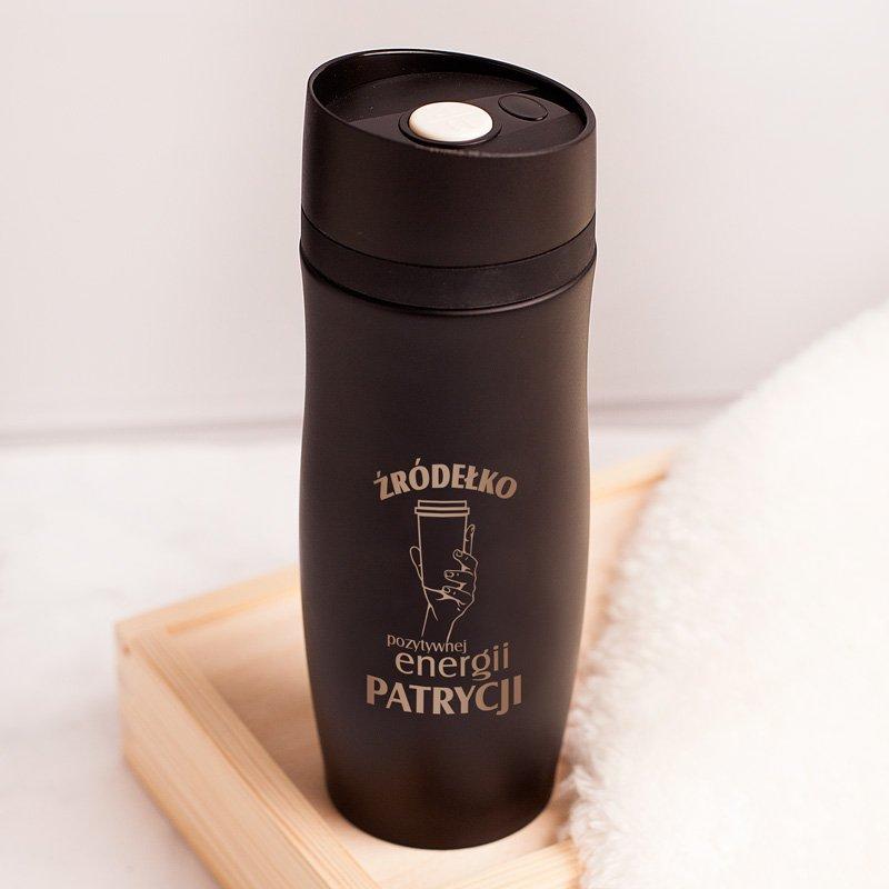 Kubek termiczny personalizowany czarny z grawerem. Wyjątkowy prezent dla bliskiej osoby.