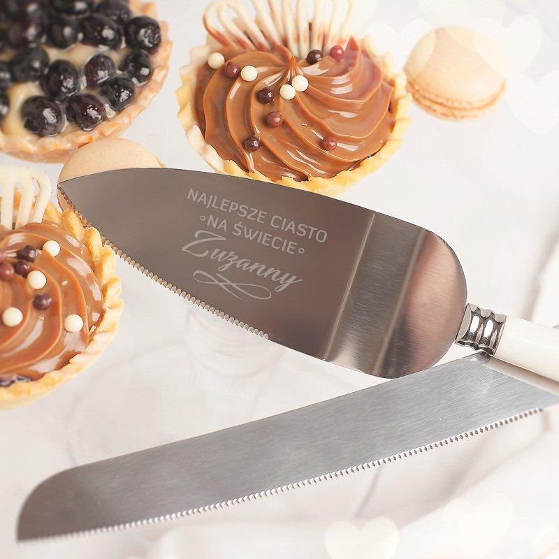 Zdjęcie w galerii - NÓŻ I ŁOPATKA z grawerem do ciasta Prezent dla Miłośnika Słodkich Wypieków