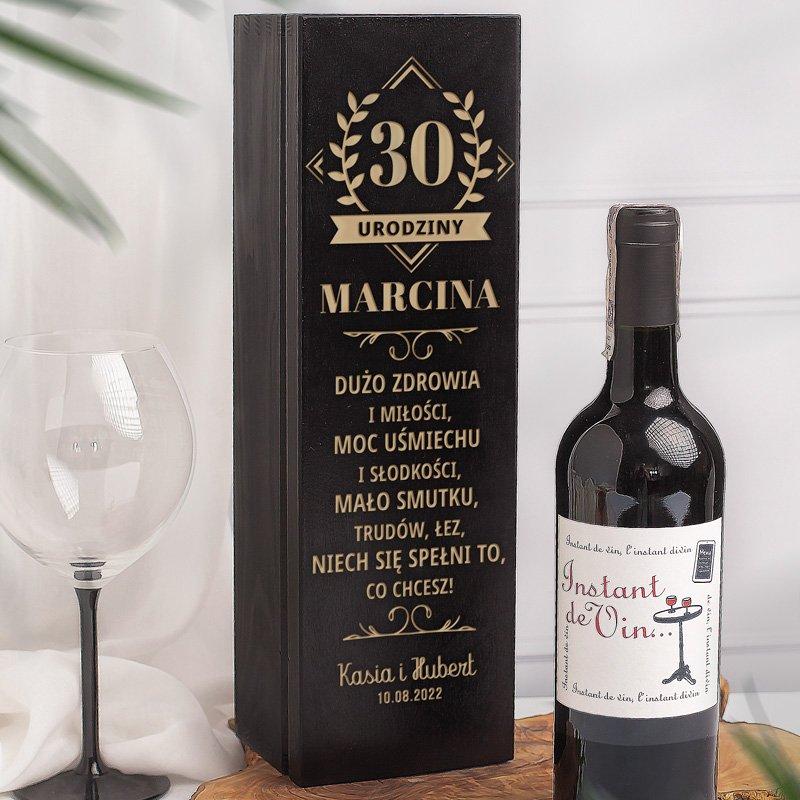 Zdjęcie w galerii - SKRZYNKA drewniana czarna na alkohol Prezent na Urodziny dla Niego