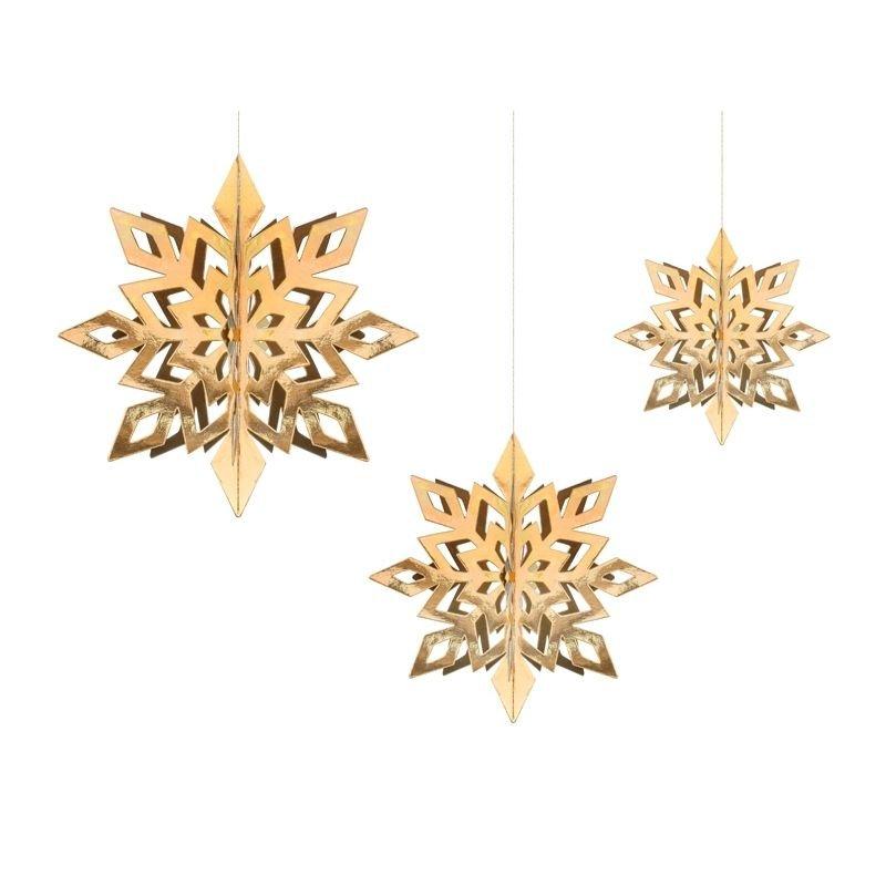 Zdjęcie w galerii - ZAWIESZKI dekoracyjne złote ozdoba wisząca Śnieżynki