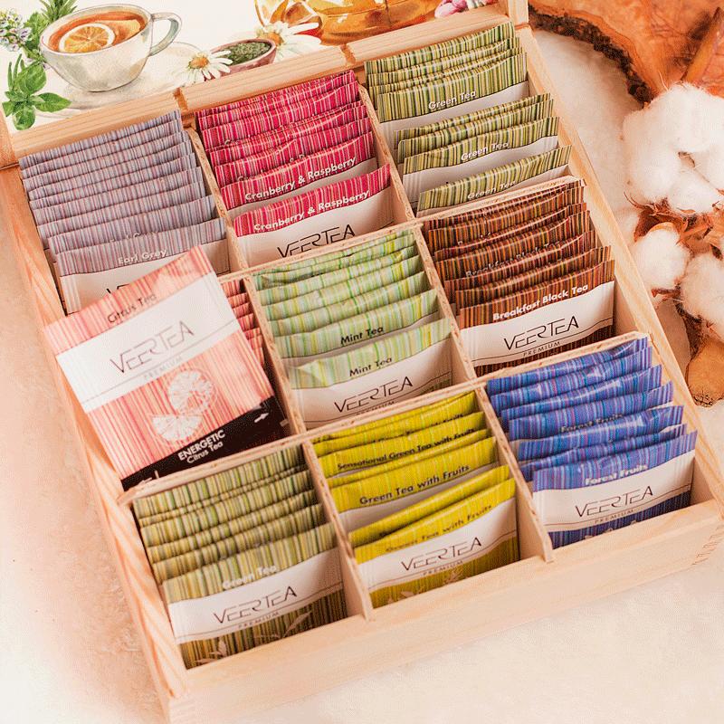 Zdjęcie w galerii - ZESTAW herbat w drewnianej skrzyni MIX SMAKÓW Herbaciany Raj